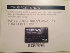 priority club visa 1500 bonus points june 30 2013 - small